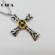 CARA Stainless steel Indian Tribe cross necklace fashion jewelry Vintage silver cross pendant necklace w Gold circle CARA0554(China)