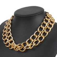 Gold Color Metal Necklace Chain Double Layers Women Statement Necklaces Cheap Promotional Items China Goods Online Jewelry Store(China)