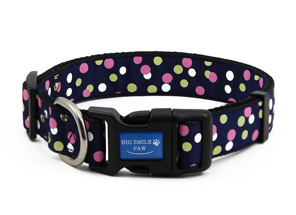 Cute Polka Dot Nylon Pet Dog Collar and Leash Set with Bell Adjustable Medium