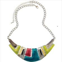 2016 Fashion Jewelry Women Channel Necklace Ethnic Silver Color Colorful Enamel Chunky Statement Choker Necklace