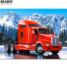 DIADIY 3D DIY Diamond Painting Cross Stitch Snow Mountain Trucks Crystal Needlework Diamond Embroidery Full Diamond Decorative