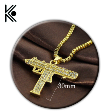 wholesale 20/pc Pistol Gun Uzi Necklace Star Jewelry Men Hip Hop Dance Charm Franco Chain crystal Golden Necklace