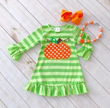 Halloween baby girls kids Fall striped mint outfits dress pumpkin boutique cotton long sleeve children clothing match accessory
