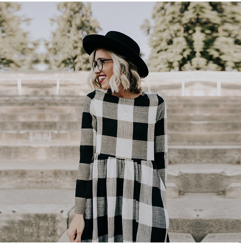 LOSSKY Fashion O-neck Long Sleeve Black White Plaid Maxi Dress Women 2018 Autumn Winter Vintage Casual Linen Long Ladies Dresses 6