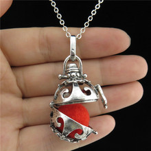 "GLOWCAT B0Q814 Glow In the Dark Fragrance Silver Copper Diffuser Heart Locket Necklace 24"" Women Jewelry Party"