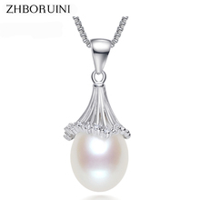 ZHBORUINI Fashion Pearl Necklace Pearl Jewelry Natural Freshwater Pearl Irregular Pendants 925 Sterling Silver Jewelry For Women(China)