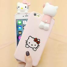 Hot Japan Fashion Cute 3D Cartoon Hello Kitty Cat for iphone 6 Case Soft Silicone Protective Case for iPhone 7 7plus 6s 6s Plus(China)