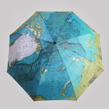 2017 English World Map umbrella originality Artistic flower cute UV protection Personality Automatic Sun umbrella