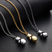 Boxing Glove Pendant Charm Necklace Sport Boxing Jewelry Punk Style Gold Chain For Men and Woman Boxing Neckalce(China)