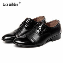 Jack Willden Fashion Men's Leather Business Shoes Mens Breathable Wedding Dress Flats Man Lace-Up Office Oxfords EUR Size 38-47