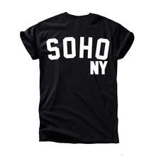 Fashion Print Women Black T Shirt, SOHO Tshirts Femail Mail