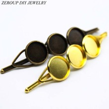 ZEROUP 10mm 12mm 10pcs Copper Hair Clips Antique Bronze Brass Plated Hairpin Cameo Glass Cabochons Base Supplies for Jewelry