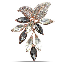 3 color choose big crystal flower brooch  grap pins and brooches office lady brooch wedding jewelry high quality