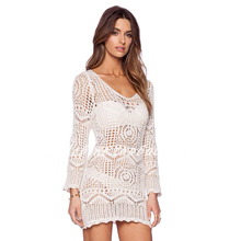 Sexy Summer Women Beach Wear Lace Hollow Out Crochet Mesh Hollow Off The Shoulder Beach Dress Smock *35(China)