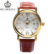 ORKINA Elegant Women Wrist Watch Classical Date Display Brown Genuine Leather Band Strap Quartz Crocodile Watches relojes mujer