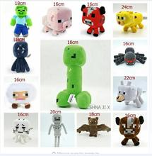 SHAN JI X Minecraft Toys Minecraft Creeper Cartoon Game Plush Toys Minecraft Skeleton Wolf Steve Cow Ghost Spider Bat Baby Toys(China)
