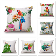 Maiyubo 2017 Brand New Linen Pillow Cover Colorful Tree and Birds Scenery Cushion Cover Home Decorative Cheap Pillow Case PC070