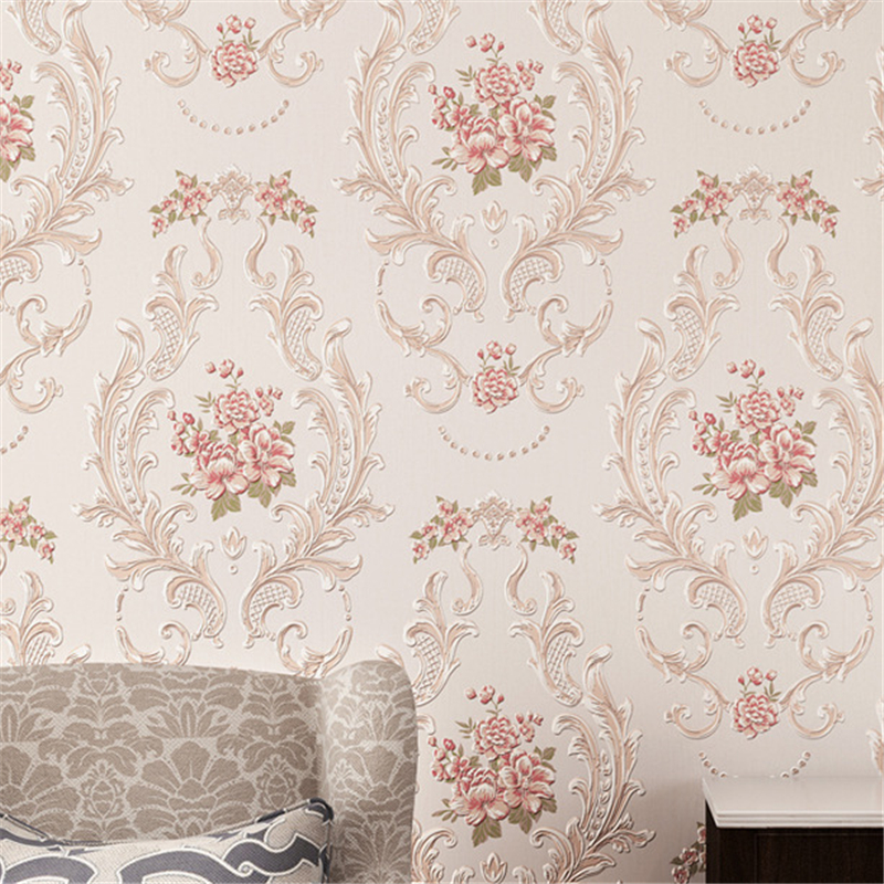 European pastoral round non-woven fabrics Floral wallpaper for walls 3 d 3D Wall Paper Mural Flower Wallpaper roll contact-paper<br><br>Aliexpress