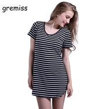 Gremiss Women Shirt Dress Top Tee Summer Style Short Sleeve Stripes Loose Casual Jersey Mini Shift Dress T shirt Dresses