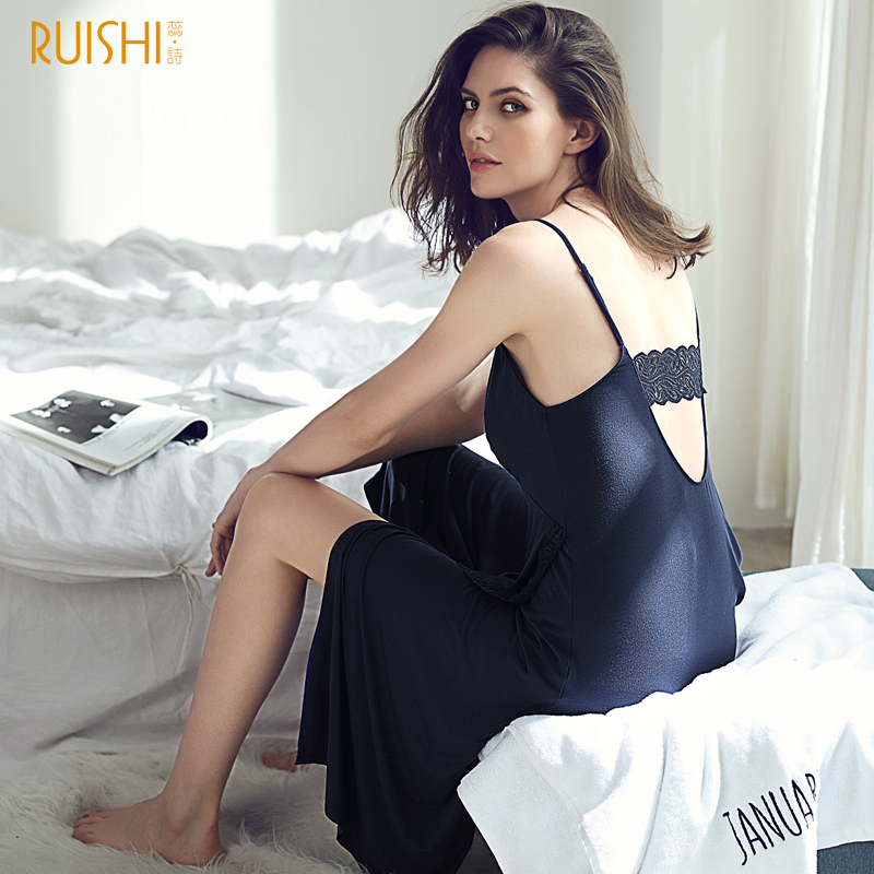 J&Q Dressing Gown Female Black Modal Nightie Cami Dress Lace Trim Classy Nightgown Deep-V Backless Spaghetti Strap Night Gown