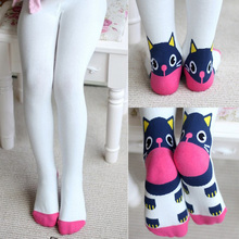 Girls pantyhose children fashion cartoon cat pantyhose kids tights tights for girls(China)