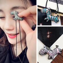 Buy N135 Crystal Zebra Pendants Long Necklaces Women Sweater Collares Fashion Jewelry American & European Style 2017 Bijoux HOT for $1.36 in AliExpress store