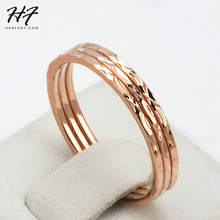 Concise Three Rounds Finger Rings Rose Gold Color Fashion Brand Ring Jewellery/Jewelry For Women Wholesale R164(China)