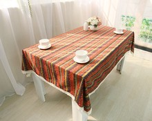 Bohemian Orange blue stripe Tablecloth Linen Cotton Table Cloth lacework Dining Tablecloth Rectangular vintage Table Cover B139(China)