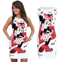 NEW Minnie Mouse Women Dress Summer Sexy Pencil Dresses Bodycon Sheath Vintage sundress Vestidos Print Cute Dress FREE SHIPPING