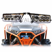 Promotion! Newest Chrome/Black Auto Accessories  ATV led light LED Headlight Kit Headlamp for Polaris Razor Push 1000