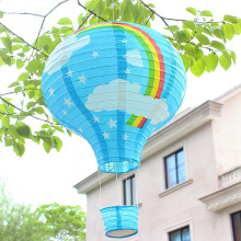 10pcs/lot 12 inch Pink & Sky Blue Rainbow Hot Air Balloon Paper Lantern Wedding Party Birthday Decorations Kids Gift Craft