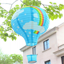 10pcs/lot 12 inch Pink & Sky Blue Rainbow Hot Air Balloon Paper Lantern Wedding Party Birthday Decorations Kids Gift Craft(China)