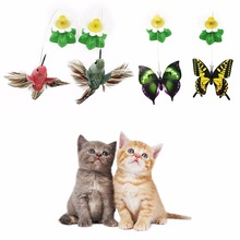 Electric Rotating Colorful Butterfly Funny dog Cat Toys bird Pet Seat Scratch Toy For Cat Kitten dog cats intelligence trainning(China)