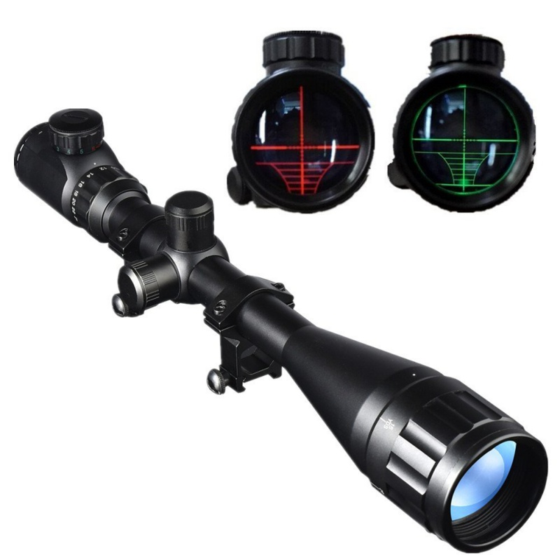 6-24x50mm Outdoor Optics Hunting Rifle Scope Red/Green Illuminated Crosshair Gun Scope With Flip Up Scope Covers<br>