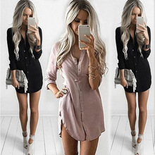 New Arrival 2017 Women Summer Dresses Women Summer&Fall Long Sleeve Casual Shirt Dress Mini Vintage Party Dresses