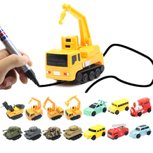 Magic Pen Inductive Car Truck Tank Follow Any Drawn Black Line Track Mini Toy Engineering Vehicles Educational Toy for kid