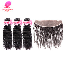 Brazillian Afro Virgin Remy Weft Hair,3 Bundles,Brazilian,Human,Weave,Kinky Curly and with Free Part Frontal Closure Kinky Curly(China)