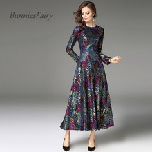 BunniesFairy 2017 Autumn Winter Newest Vintage Elegant Long Sleeve High Waist Women Lace Dress Long Section Maxi Robe Vestidos(China)