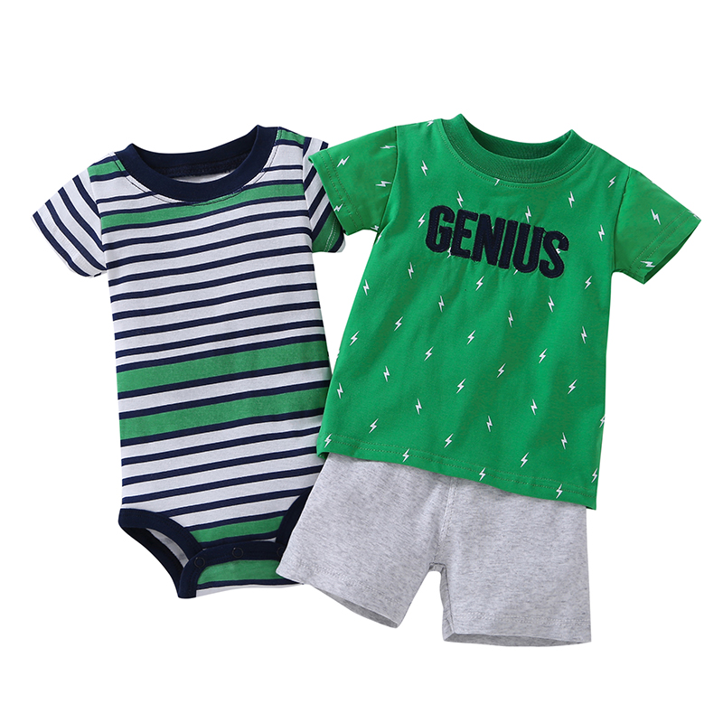 3pcs Baby Boys Sets Summer Green Letter T-shirt+Green Striped Short Sleeves Bodysuits+ White Shorts Baby Boys Clothes Sets<br>