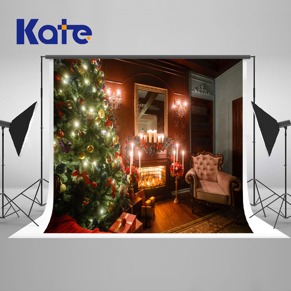 KATE Photography Backdrops Christmas Backdrop Arbol De Navidad  Madera Decorative Fireplaces Wood Floor Background<br>