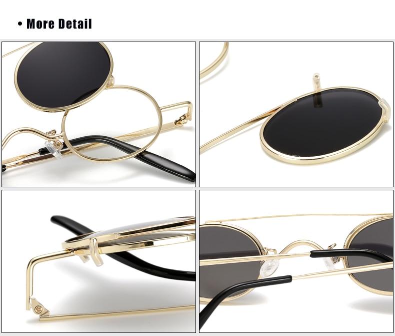 Ralferty Vintage Small Clip On Sunglasses Women Men Retro Mini Steampunk Goggles Punk Sun Glasses UV400 Eyewear Accessories B012 13