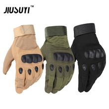 Military Tactical Gear Army Full(Half) Finger Airsoft Combat Carbon Hard Knuckle Guard Leather Fingerless Gloves Free Shipping(China)