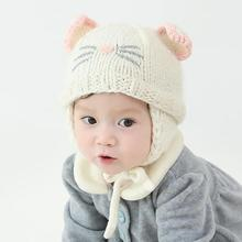 2017 Cute Cat Baby Hat Kids Winter Hats Boy Girl Infant Children Hats knitted Caps Hot Super Soft Photography Props Accessories