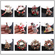 Snowman 3d Elk Brooch Pin Bell Garland Christmas Tree Brooch Metal Shawl Sweater Coat Accessories Christmas Vintage Brooch(China)