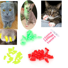 20pcs Colorful Soft Cats Dogs Pet Kitten Paws Grooming Nail Claw Cap Pet Nail Control Paws Caps Christmas Gift Pet Supplies