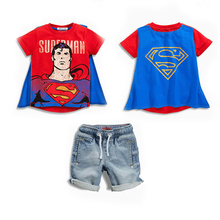 Retail New 2017 Superman Children Clothing Sets cool Summer boys Costume Kids clothes T-shirt+jeans 2 pcs set Baby cosplay wear