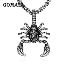 GOMAYA Animal Jewelry Scorpion Pendant Necklace for Man 316L Stainless Steel Jewelry Necklaces Men's Gift Punk Rock(China)
