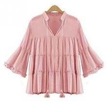 Hot Selling Autumn Women New Stylish Pleated Sleeve V-Neck Tops Casual Girls Pure Color Loose Shirt