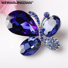 High Quality Shinning Blue and Red Glass Crystal Butterfly Fashion Brooches Brouches Costume Jewelry in 6 assorted colors(China)