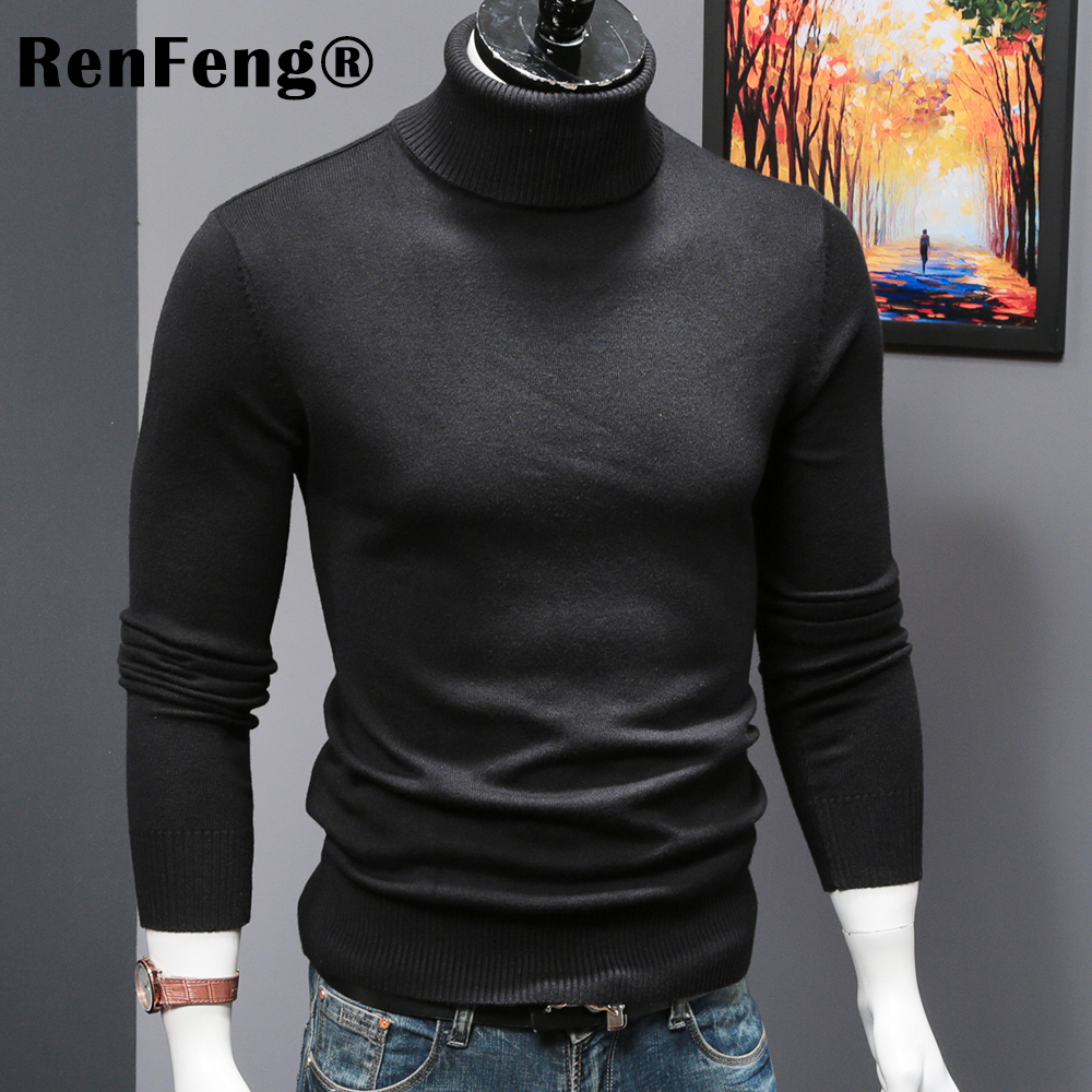 ... Autumn Winter Thick Sweater Men Knitted Pullover Sweater Long Sleeves  Turtleneck Slim Jumper Soft Warm Pull ... 0b3497d6fe64